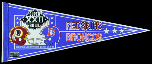 Super Bowl XXII: Redskins Vs. Broncos Pennant