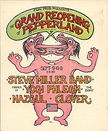 Greg Irons Steve Miller Pepperland Re-Opening Handbill