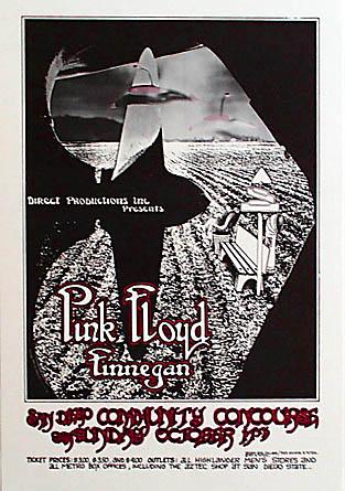 Randy Tuten 1971 Pink Floyd San Diego Poster - signed