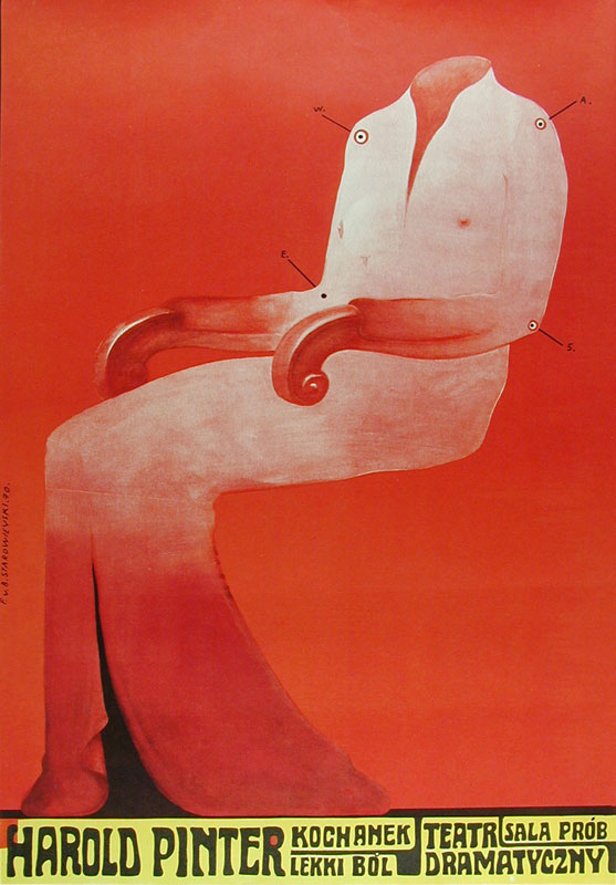 Franciszek Starowieyski Harold Pinter The Lover Kochanek Lekki Bol Polish Polish Theater Poster