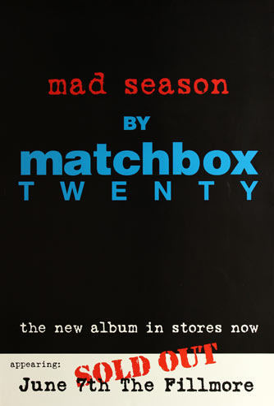 Matchbox Twenty Fillmore Promo Poster