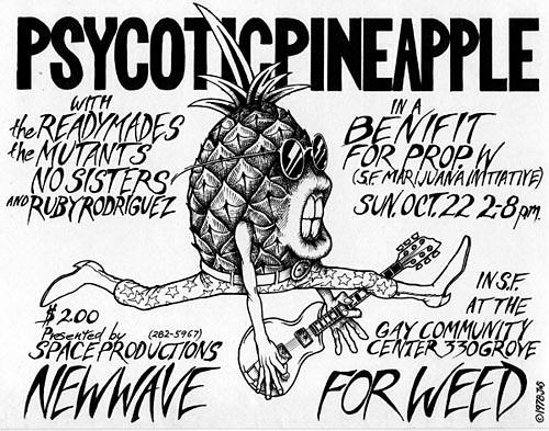 John Seabury Psycotic Pineapple Marijuana Benefit Punk Flyer / Handbill