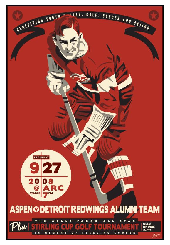 Scrojo Aspen vs Detroit Redwings Alumni Hockey Match Poster