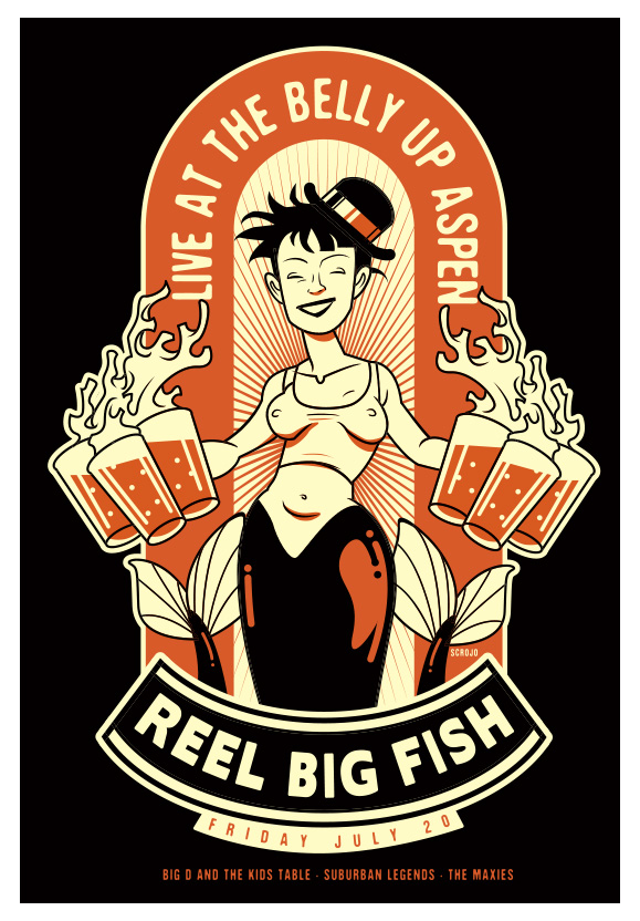 Scrojo reel big fish belly up aspen aspen co poster for Reel big fish