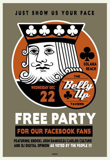Scrojo Belly Up Tavern Free Party For Our Facebook Fans - Endoxi Poster