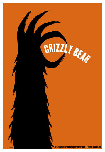 Scrojo Grizzly Bear Belly Up Tavern Solana Beach Ca Poster