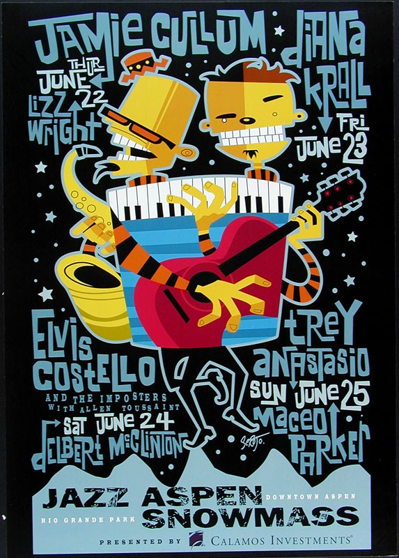 Scrojo Elvis Costello Jazz Aspen Snowmass Poster