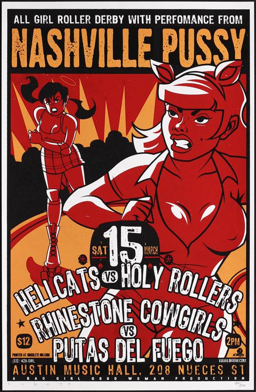 Scrojo Nashville Pussy Roller Derby Poster