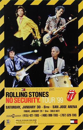 Porsche San Jose >> Rolling Stones No Security Tour San Jose Arena Poster