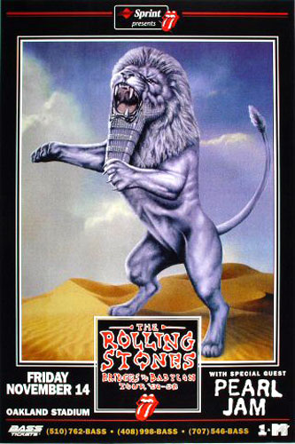 Scarce Rolling Stones Pearl Jam Poster