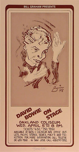 Randy Tuten Bill Graham Presents David Bowie Poster - signed
