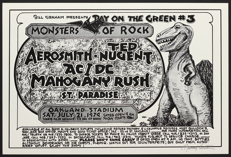 Randy Tuten Bill Graham Presents Day on the Green #3 1979 - Monsters of Rock - Aerosmith Poster - signed
