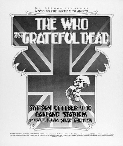 Randy Tuten Day On The Green 8 & 9 - Grateful Dead, The Who Poster - signed