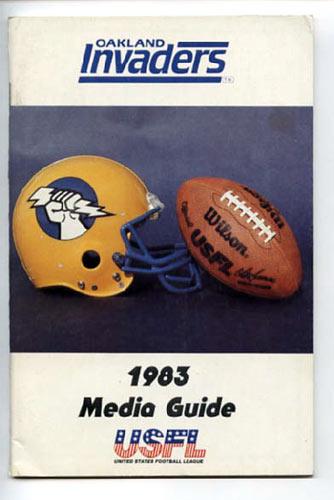 1983 Oakland Invaders Media Guide