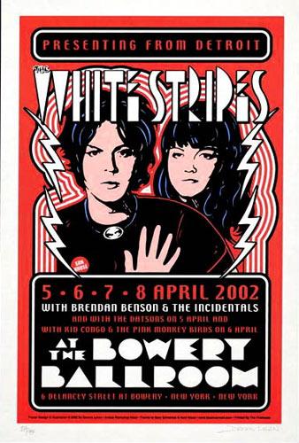 Dennis Loren White Stripes Bowery Ballroom Poster - signed