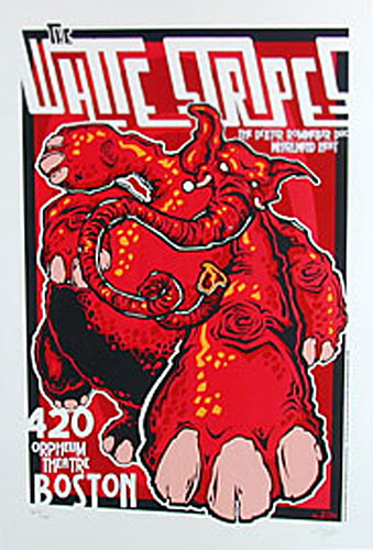 James Decker and Jeff Wood - Drowning Creek White Stripes Orpheum Theatre Silkscreen Poster