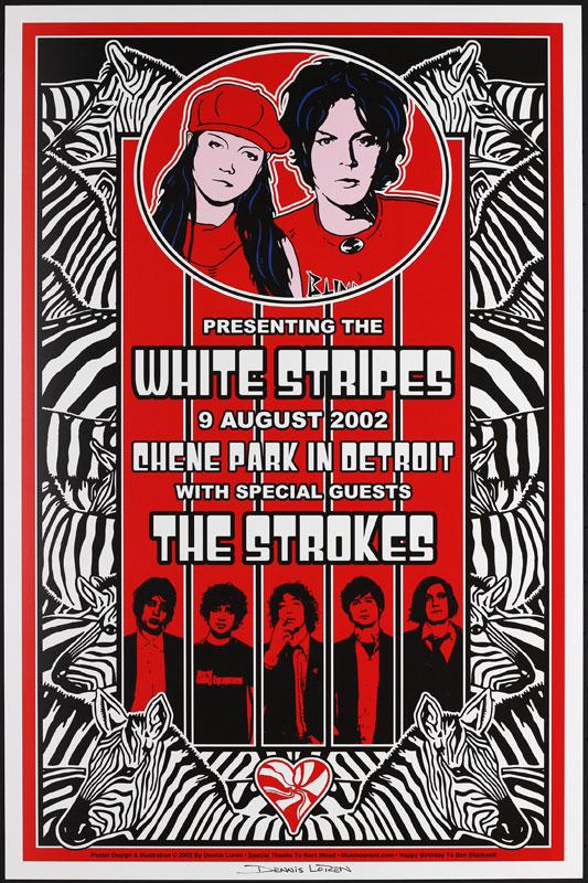 Dennis Loren White Stripes , Strokes Chene Park Poster