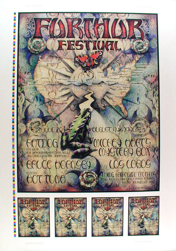 Michael Everett Furthur Festival Map And Butterfly Uncut Proof Sheet