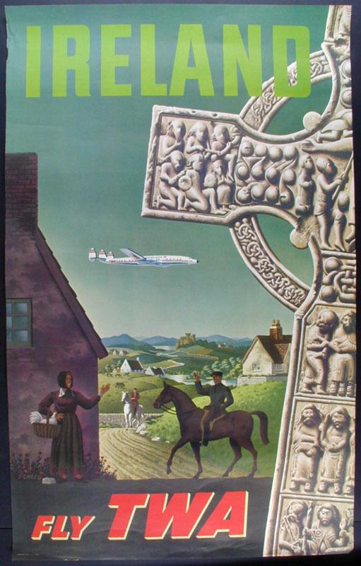 S. Greco Ireland Fly TWA Travel Poster
