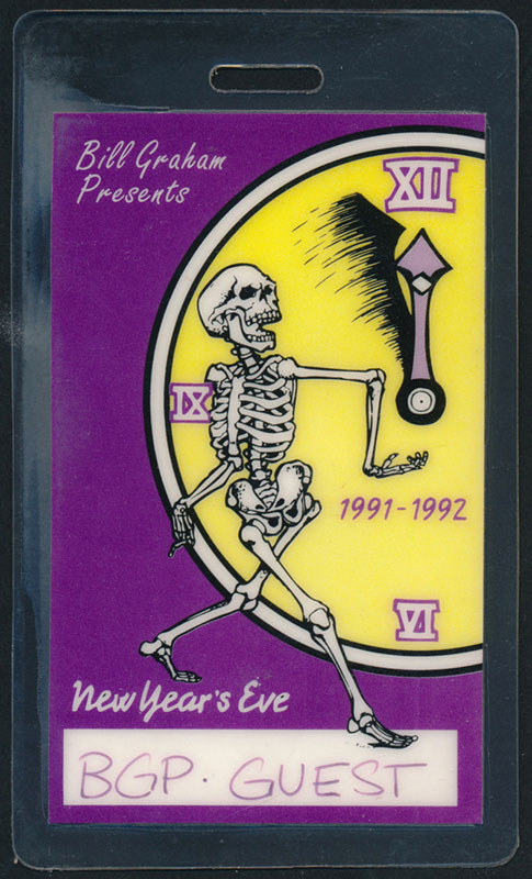 Grateful Dead New Year's Eve 1991-1992 Guest Pass Laminate