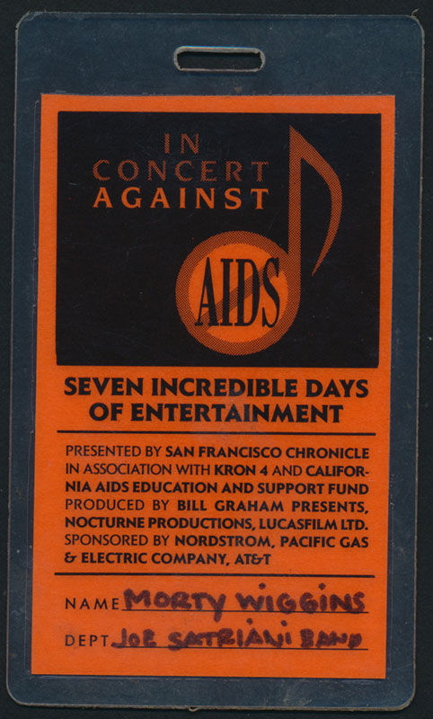 In Concert Against AIDS 1989 Performer Pass Laminate