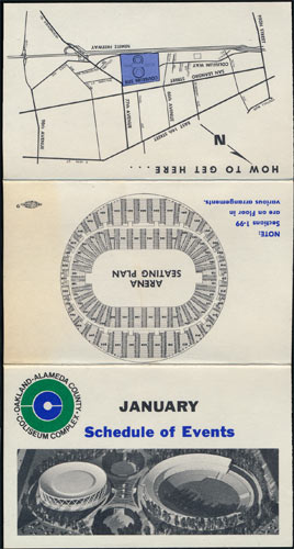 Oakland Coliseum January 1967 Event Pocket Schedule