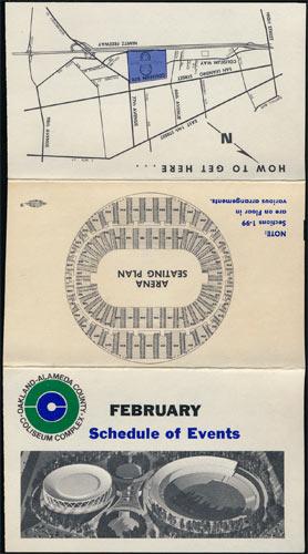 Oakland Coliseum February 1967 Event Schedule Pocket Schedule