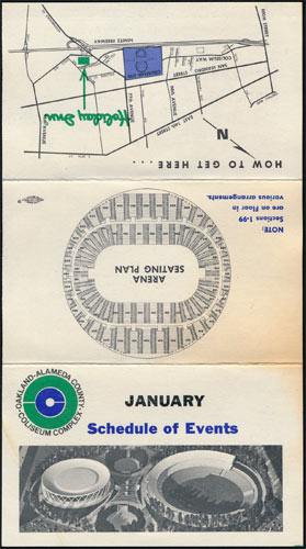 Oakland Coliseum January 1968 Event Schedule Pocket Schedule
