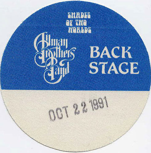 Allman Brothers Band 1991 Blue Backstage Backstage  Pass