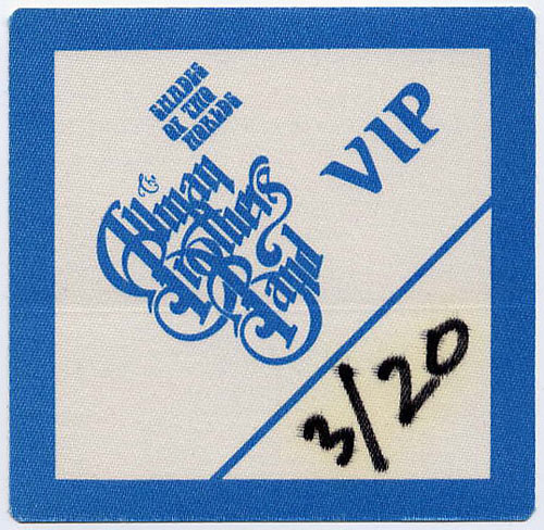 Allman Brothers Band 1991 Blue VIP Backstage  Pass