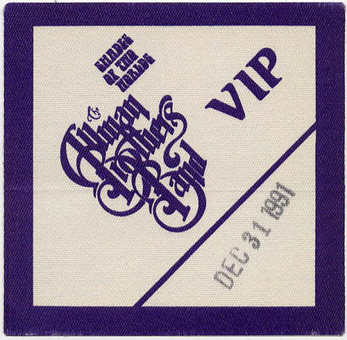 Allman Brothers Band 1991 Purple VIP Backstage  Pass