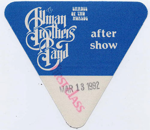 Allman Brothers Band 1992 Blue After Show Backstage  Pass