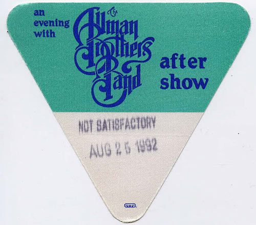Allman Brothers Band 1992 Green After Show Backstage  Pass