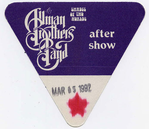 Allman Brothers Band 1992 Purple After Show Backstage  Pass