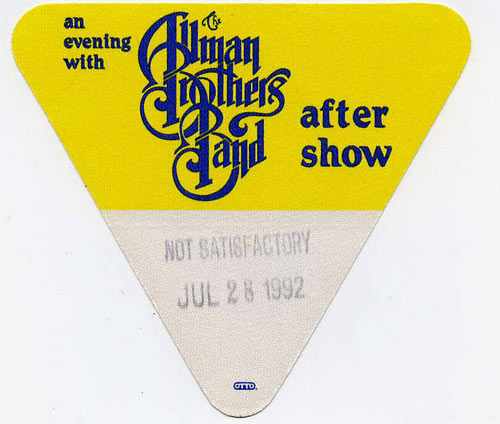 Allman Brothers Band 1992 Yellow After Show Backstage  Pass