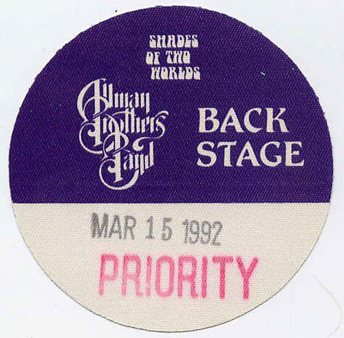Allman Brothers Band 1992 Purple Backstage Backstage  Pass