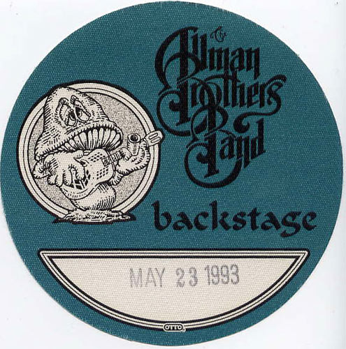 Allman Brothers Band 1993 Blue Backstage Backstage  Pass
