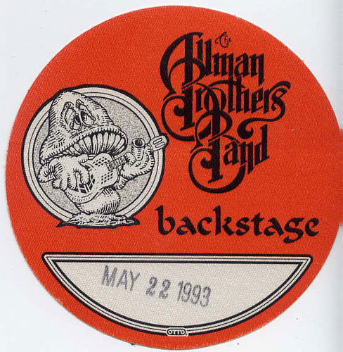 Allman Brothers Band 1993 Red Backstage Backstage  Pass