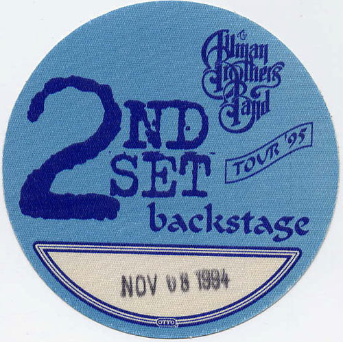 Allman Brothers Band 1994 Blue Backstage Backstage  Pass