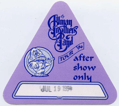 Allman Brothers Band 1994 Purple After Show Backstage  Pass