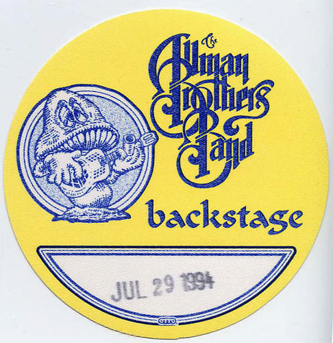 Allman Brothers Band 1994 Yellow Backstage Backstage  Pass