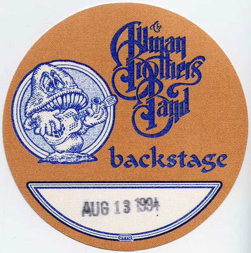 Allman Brothers Band 1994 Brown Backstage Backstage  Pass