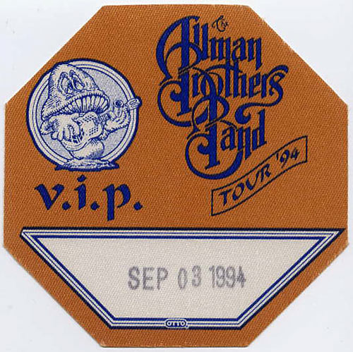 Allman Brothers Band 1994 Brown VIP Backstage  Pass