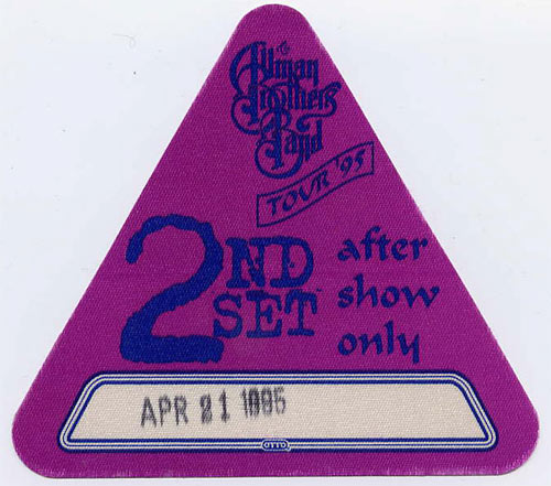 Allman Brothers Band 1995 Purple After Show Backstage  Pass