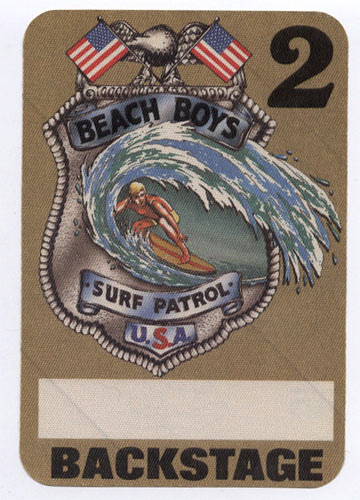 Beach Boys Surf Patrol Brown Backstage Backstage  Pass