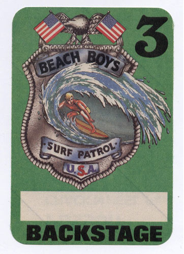 Beach Boys Surf Patrol Green Backstage Backstage  Pass