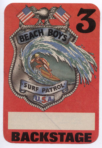 Beach Boys Surf Patrol Red Backstage Backstage  Pass