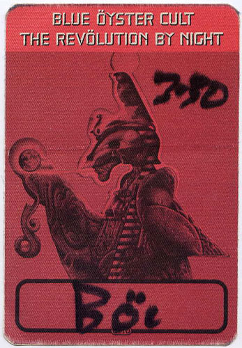 Blue Oyster Cult Revolution By Night Red Backstage Backstage  Pass