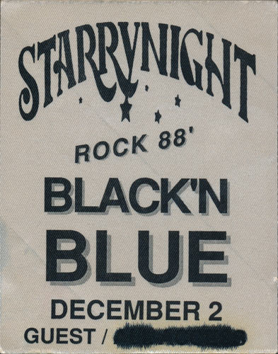Black 'N Blue Starrynight Rock 1988 Guest Backstage Pass