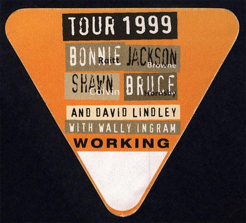 Bonnie Raitt Jackson Browne Tour 1999 Backstage Pass